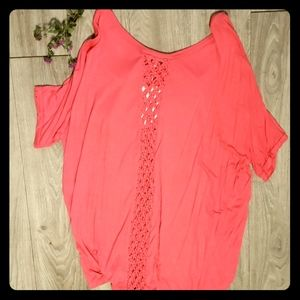 Plus Coral Top with cute design on back